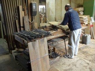 Planks are glued together