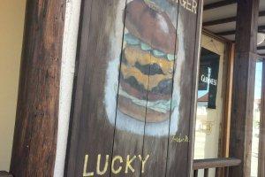 Lucky Smile, a popular American-style burger restaurant on Nanokamachi Street.