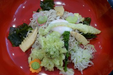 An early spring specialty of shinsai soba, topped with butterbur tempura