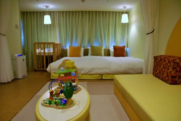 A baby-friendly room, complete with crib