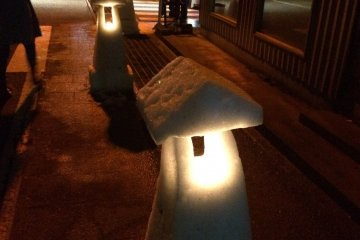 Snow lanterns light up the streets during the Ono City Snow Festival. The Festival also includes a rare winter fireworks display, as well as an abundance of delicious local food