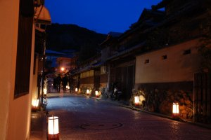 The lanterns add a charming touch to the streets of Higashiyama