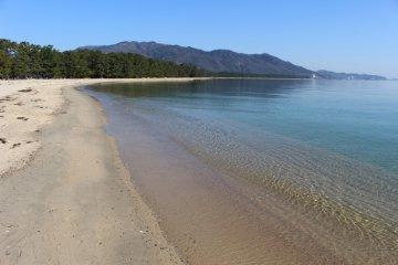 Beautiful stretch of beach along Amanohashidate, Kyoto