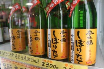Sake tasting at Kasumi Tsuru brewery