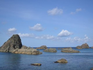 The coastline is dotted with rock formations like these.