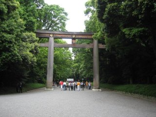 The entrance to the shrine grounds is marked by a huge torii (gate).