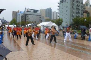 A samba team performing
