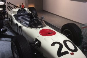 An old-style racing car at the Honda Collection Hall