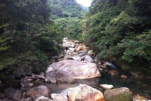 Sarugajo Ravine cuts a path right through the Takakuma mountains.