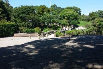 Тенистая местность в парке Суидзэндзи