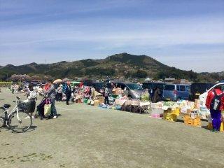 히와다 산을 배경으로 한 무료 시장에서 쇼핑도 해보세요!