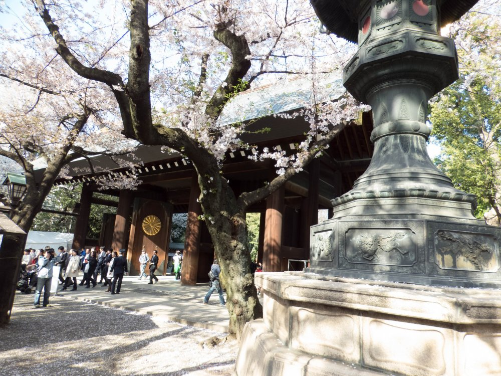 A view from inside this gate looking back towards Yasukuni Dori