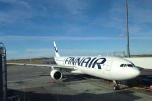 フィンエアーのワイドボディ機Airbus340。日本への路線を飛ぶ。
