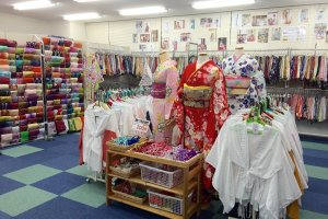 The store has over 500 kimono to choose from