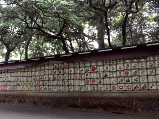 Stacks of sake barrels donated to the shrine for festivals and ceremonies.