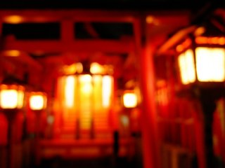 red Torii and golden light