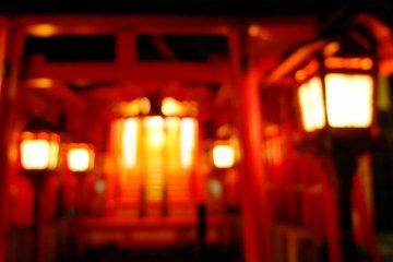 red Torii and golden light