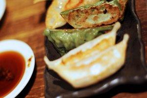 Shrimp, mushroom and kujo Welsh onion gyozas