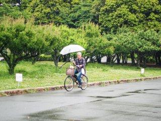 Seorang lelaki bersepeda bersama najingnya