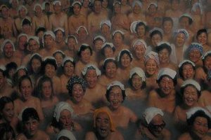 Picture of a poster showing the hot spring at maximum capacity!