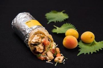 Ume-Shiso Chicken Burrito, a collaboration menu item in partnership with Sanpi-Ryoron