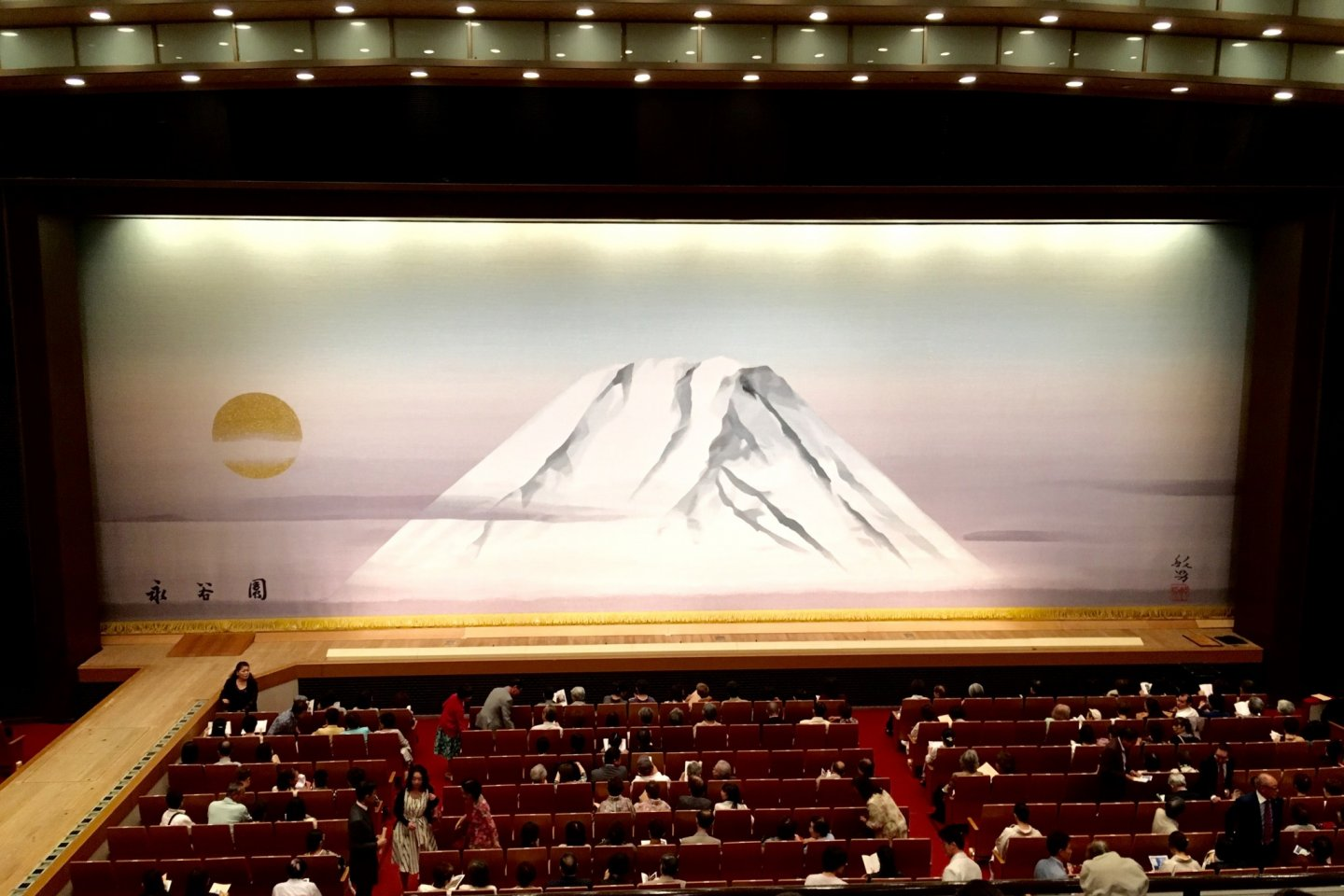 Mt Fuji adorns the stage before showtime