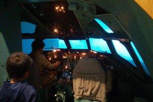 Inside a flight simulator