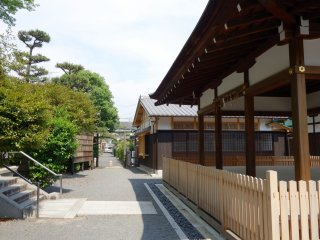 The shrine's exit leads out to surrounding residential area of Kyoto