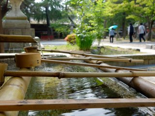 """The """"temizuya"""" water pavilion for purifying body and soul prior to presenting before of the enshrined deities"""