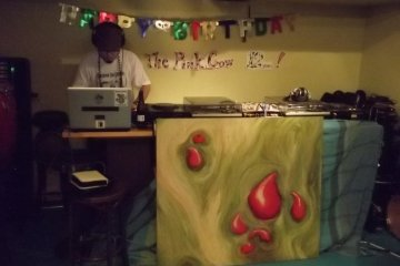 <p>When art meets music: a DJ spins tunes from behind a painting</p>