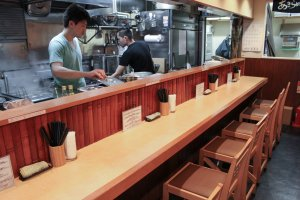Counter dining for 9 lucky diners allows a chance to appreciate the chef's craftsmanship at work