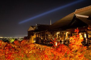 The lit up autumn leaves makes it look as if Kiyomizudera sits in a sea of fire