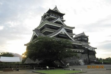 The dual keep towers of Kumamoto Castle from the main bailey