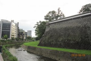 The outermost wall and moat of the castle