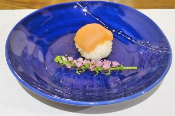 Temari sushi on local pottery