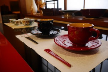 Beautiful laquerware goods are sold on the first floor