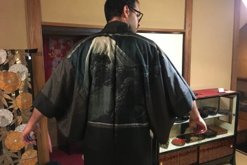 Trying on one of the male haori's