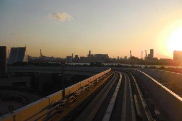 Sun setting over the Yurikamome