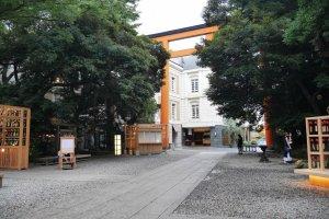 The fifteen meter tall torii is hidden between ancient trees