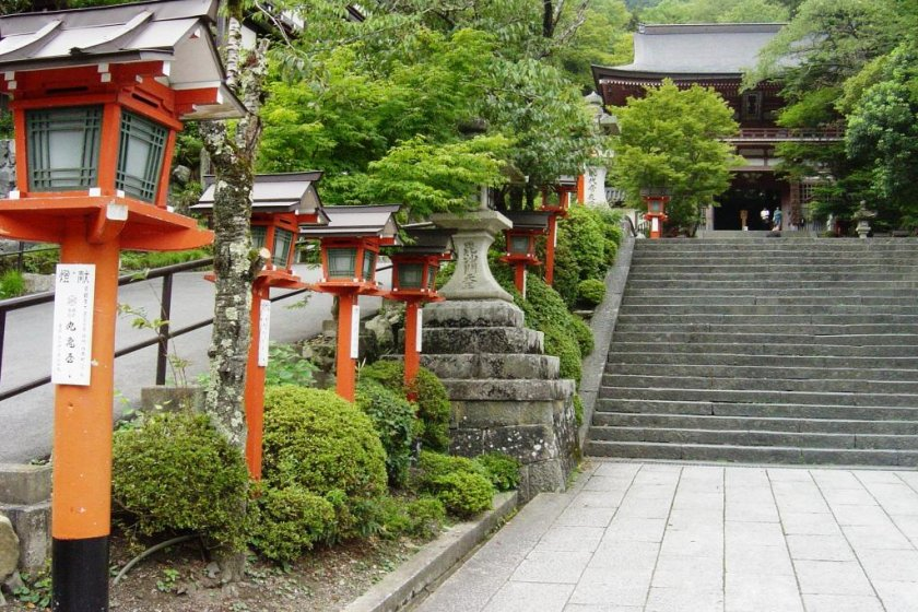 Flight of stairs leading up the temple gate of Kurama Temple