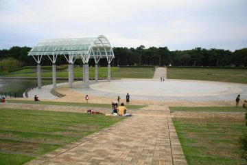 As you walk through the entrance, you will see the outside stage.