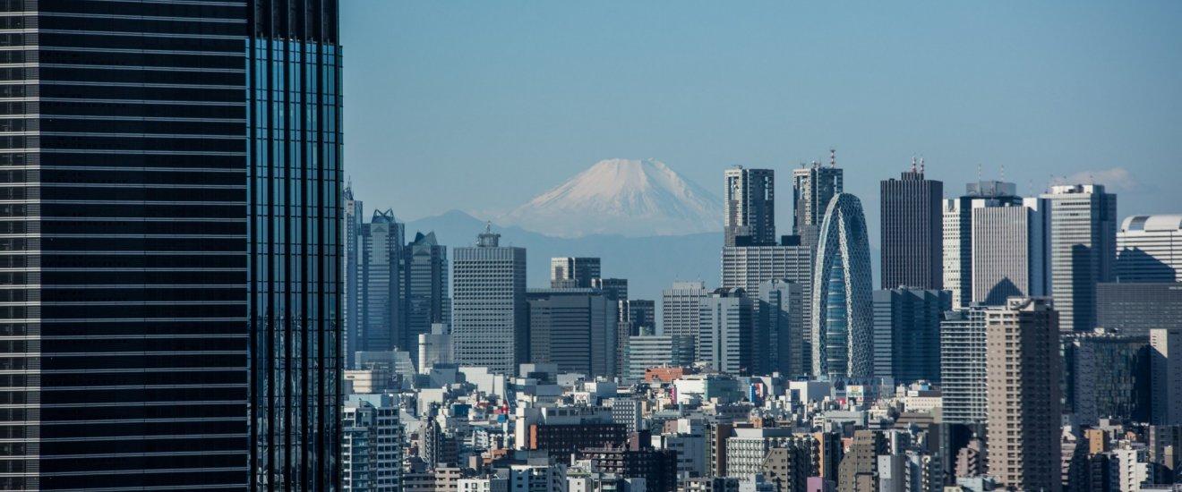 Quartier de Shinjuku et le Mont Fuji