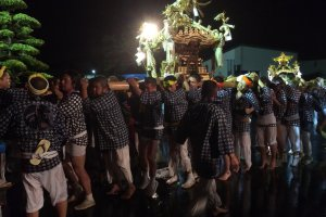 The carrying of the small shrine at Sosa City Gion Festival, Chiba Prefecture