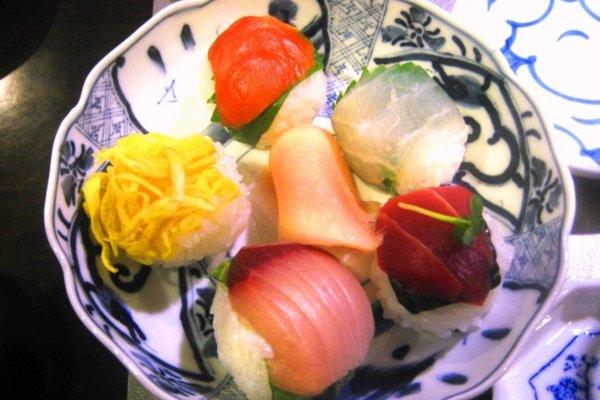 Handmade sushi balls at Roujiya cooking class in Nijo, Kyoto