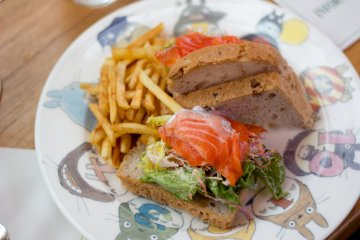 The salmon sandwich set my friend ordered - served on a Totoro plate!