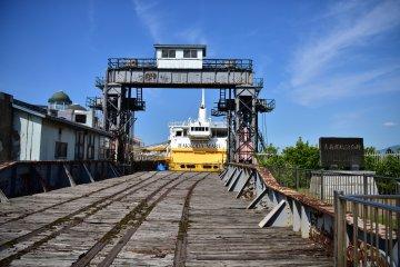 Old train tracks leading to Hakkoda-Maru