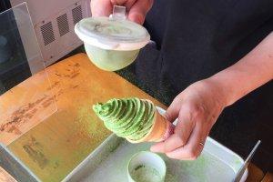 Sprinkling magic green dust