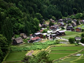 Overlooking Shirakawa-go village from the observation deck