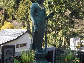 One of the serene Buddhist statues in the grounds
