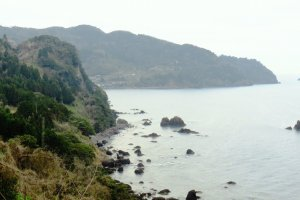 The hauntingly beautiful cliff lines near Niizaki Shrine